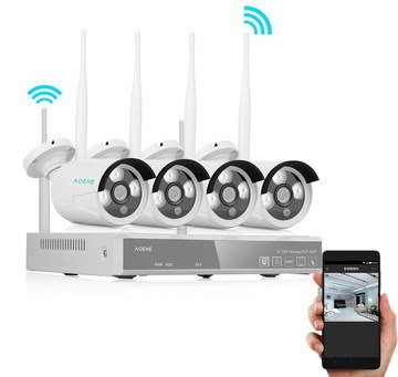 Smart Home Wireless CCTV Kit 4 White Cameras