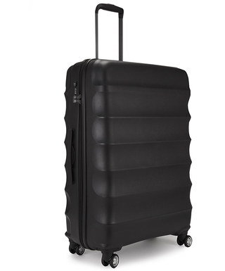 Large Lightweight Suitcase In All Black Plastic