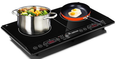 LED Twin Large Induction Hob With Steel Pot