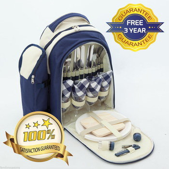 Backpack Picnic Set In Blue And Cream