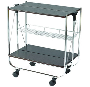 Folding Drinks Cart Store With Black Shelves