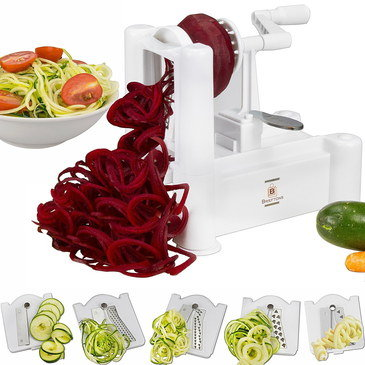 Tough Vegetable Spiral Slicer With White Handle