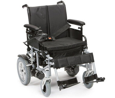 Folding Electric Wheelchair With Black Foot Rests