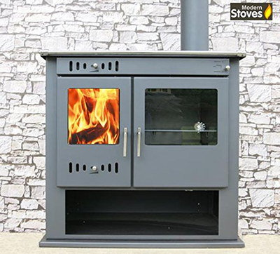 Modern Wood Burning Stove With Big Log Store Area