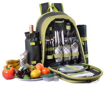 Zipped 4 Person Picnic Backpack In Green Finish