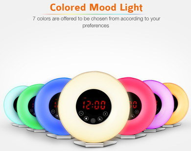 7 Colours Wake Up Alarm Clock With Red Digits