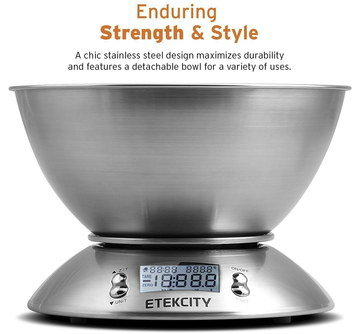 Brushed Steel Kitchen Scales With Round Bowl