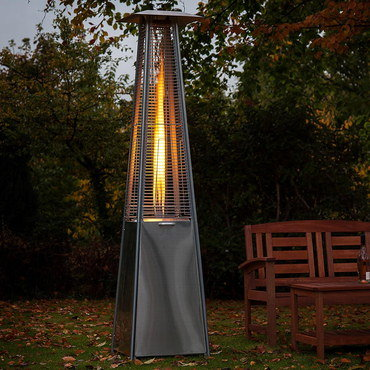 Upright Flame Patio Heater In Triangular Design