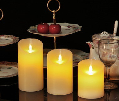 Natural LED Battery Candle Lights On Black Table