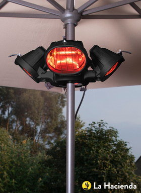 Infrared Patio Heater Units In Black On Pole