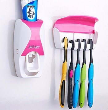 Auto Toothbrush Dispenser With 5 Bright Brushes