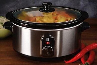 Chrome Slow Cooker For One With Front Control Dial