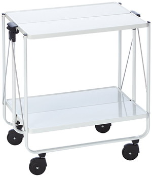 Flat Folding Kitchen Trolley With Black Castors