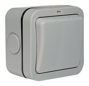 Weather Proof Switch Socket In Grey