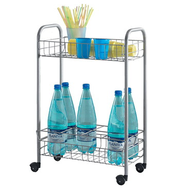 Kitchen Mobile Serving Cart With Water Bottles