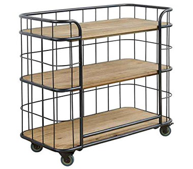 Serving Trolley In Steel And Wood On 4 Castors