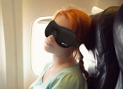 Blackout Eye Mask Worn By Girl On Plane