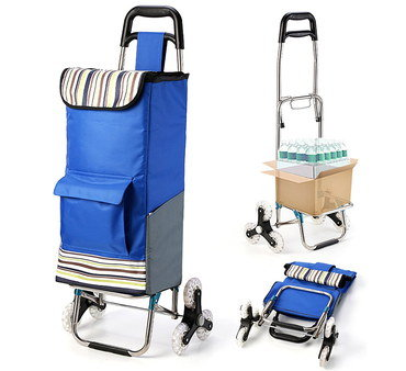 Stair Climbing Trolley In Blue Textile