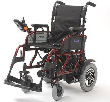 Folding Power Chair With Red Steel Framework