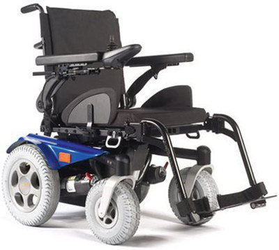 Pivoting Electric Mobility Wheelchair With Blue Wheel Guards