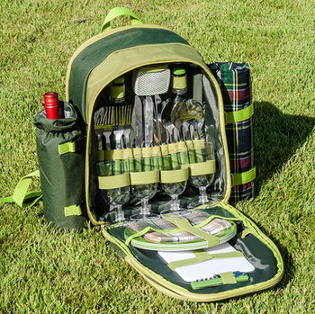 Picnic Backpack Cooler On Grass Lawn