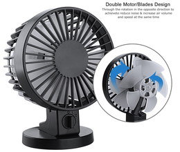 Round Head Mini Desk Fan In Black