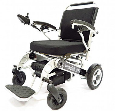 Collapsible Power Wheelchair In Black And White Finish