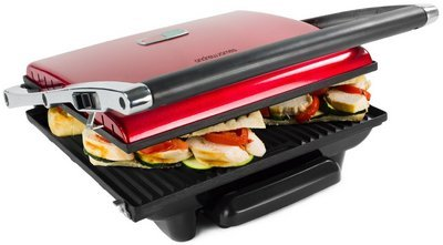 Panini Snack Sandwich Press Grill In Black And Red