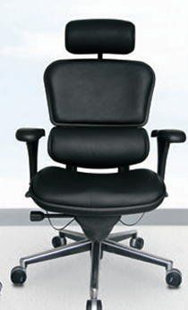 Ergohuman Ergonomic Leather Office Chair In Black With Synchro Tilt
