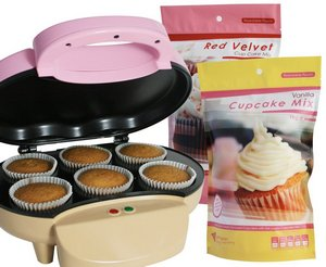 Family Size Flawless Cupcake Maker Showing Cake Mix Packet