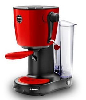 Espresso Machine In Grey And Red Colours