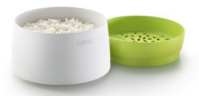 Large 1 Litre Rice Steamer In White And Green Container
