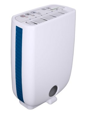 Quiet Dehumidifier In White With Blue Side Strip