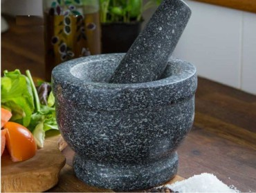 Natural Granite Pestle And Mortar Spice Crusher With Lemons
