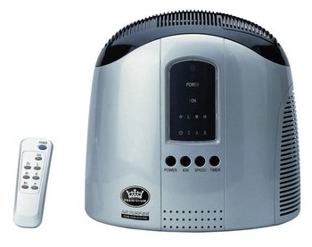 HEPA Home Air Cleaner In Black and Blue Showing Remote Control