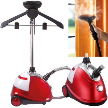 Upright Floor Standing Garment Steamer In Black And Red Finish