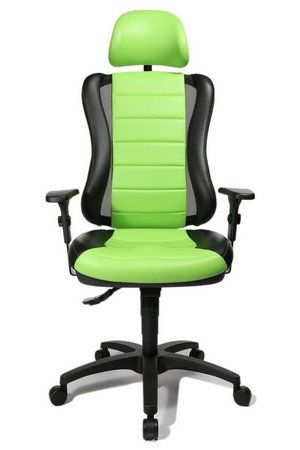 Topstar's Ergonomic HeadPoint Sporty Office Chair In Black And Light Green Finish