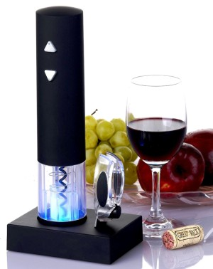 Electric Corkscrew In Black With Glass Red Wine