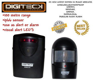 Wireless Driveway Alarm In Black With Red LED