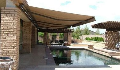 Aleko Retractable Sun Shade Over Pool Area