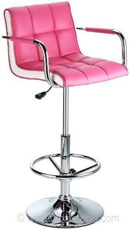Comfy Swivel Bar Stool With Back Rest In Bright Pink