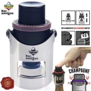 Bar Amigos Champagne Bottle Stopper In Navy With Diagram