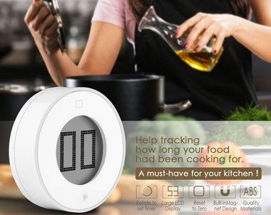 Rounded Magnetic Fixture Cute Kitchen Timer In White