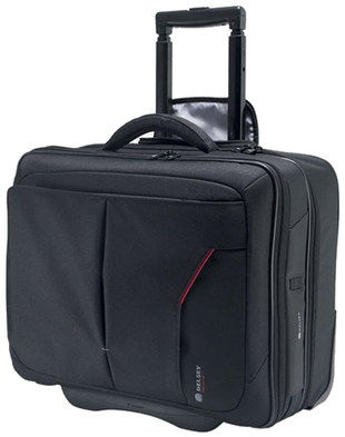 Delsey Laptop Bag On Wheels Roller Case In All Black