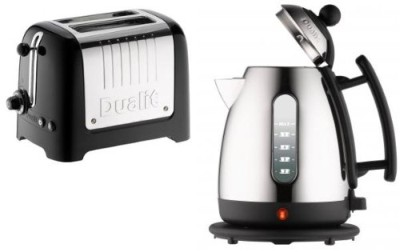 Kettle 2 Slice Toaster Set In Silver Effect And Black Finish