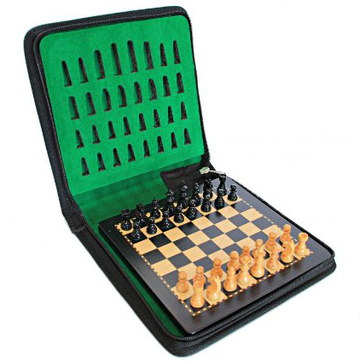 English Chess Co Magnetic Travel Chess Set In Black Case