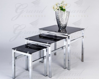 Elsa Contemporary Black Glass Nest Of Tables With Flower Vase
