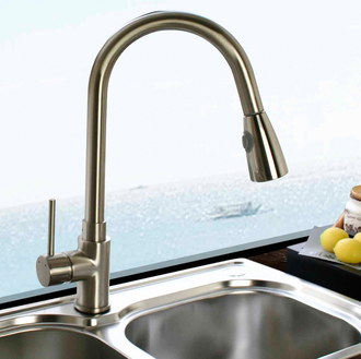 erise pull out steel kitchen sink mixer tap with left handle - Kitchen Sink Tap