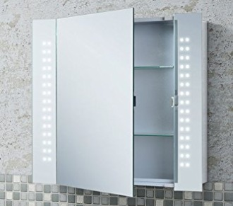Hapilife Bathroom Mirror With LED Lights Cabinet Door