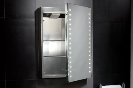 Hollis Led Stainless Steel Bathroom Cabinet Above White Sink